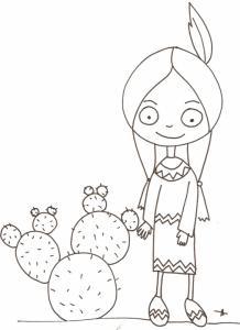 Indienne devant les cactus