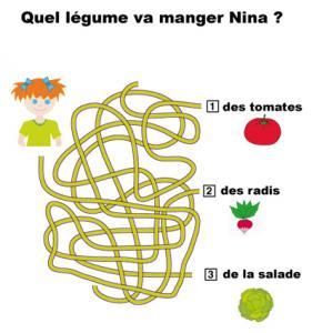 Jeu de fils mà™lés à imprimer : imprime ce jeu de fils emmà™lés pour trouver quel légume va manger Nina
