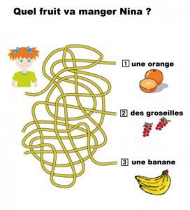 Jeu de fils mà™lés sur les fruits : imprime le jeu et trouve le nom du fruit que va manger Nina