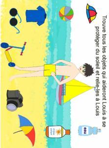 Imprimer le jeu trouve les objets pour la protection solaire