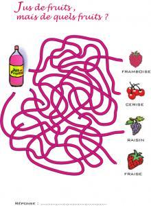 Jeu de fils mêlés : boisson fruitée