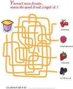 Jeu de fils mêlés : yaourt aux fruits rouges