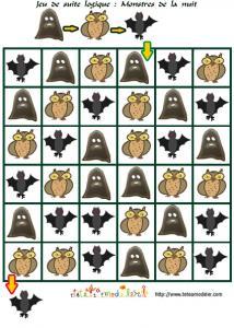 jeu de suite logique : monstres de la nuit