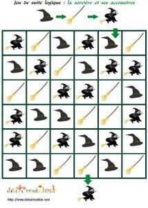 jeu de suite logique : La sorcière et ses accessoires