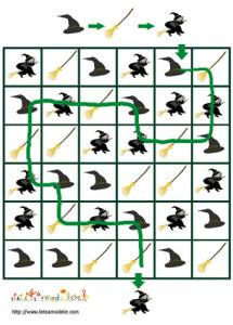 Solution du jeu de suite logique : sorcière et accessoires