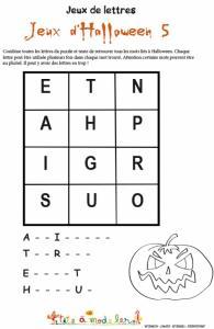 Puzzle de lettres de la peur !