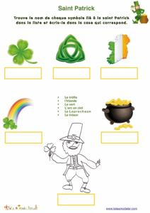 Jeu vocabulaire saint Patrick