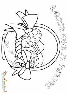 Coloriage de Pâques : panier à oeufs