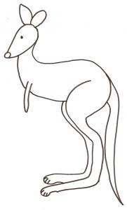 coloriage d'un kangourou seul