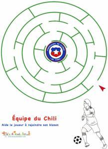 Labyrinthe avecc l'équipe de foot du Chili