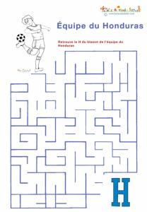 Labyrinthe de l'équipe de foot du Honduras à imprimer