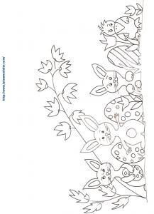 Coloriage famille lapins de Pâques