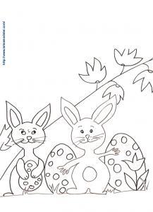 Coloriages de deux lapins et les oeufs