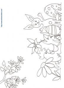 Coloriage de Pâques : le lapin et la poule