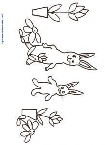 Coloriage de deux lapins de Pâques