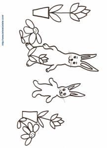 Coloriage de la ronde de lapins