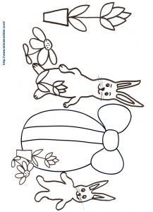 Coloriage des lapins et du gros oeuf