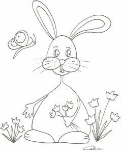 Coloriage du lapin au bouquet de tulipes à Pâques