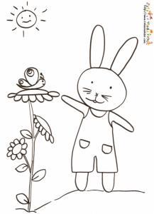 Coloriage lapin en salopette et le papillon