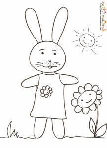 Coloriage lapine en robe