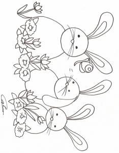 Coloriage 3 petits lapins dans les fleurs
