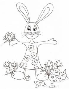 Imprimer le coloriage d'une lapine au papillon