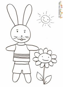 Coloriage lapin en short et polo