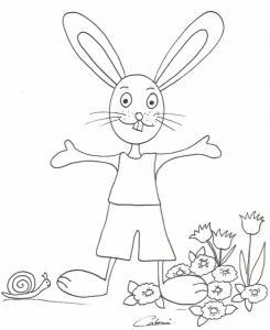 Imprimer le coloriage d'un lapin à l'escargot dans les fleurs
