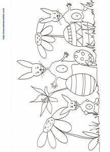 Coloriage 2 lapins et leurs oeufs de Pâques