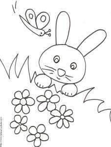 Coloriage du lapin caché dans les herbes et les fleurs
