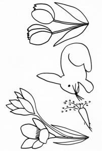 Coloriage d'un lapin devant une carotte