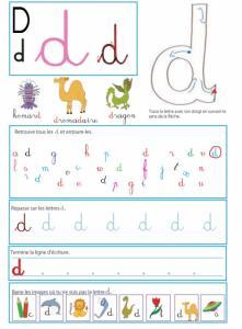 """Imprimer la page sur le """" d """" pour le livre GS / CP sur les minuscules"""