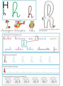 Page d'activité sur la lettre h pour le livre GS / CP sur les minuscules