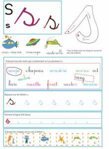 Imprimer la page sur le s - Livre GS / CP sur les minuscules