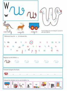 Page sur la lettre w - Livre GS / CP sur les minuscules