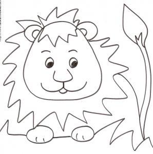 Coloriage d'un lion dans les herbes