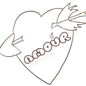 coloriage love : gros coeur percé