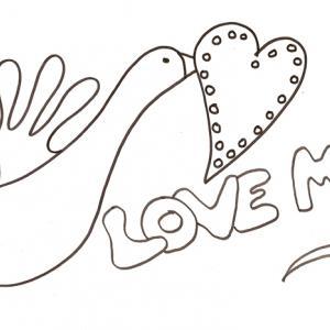coloriage love : la colombe au coeur