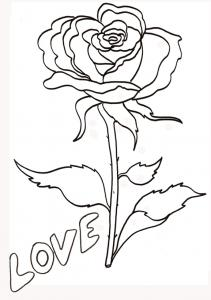 coloriage love : la rose 2