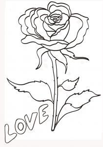 coloriage love : la rose 2