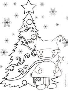 Coloriage du lutin devant le sapin de Noël