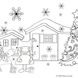 Coloriage du lutin et du renne devant le chalet de Noël
