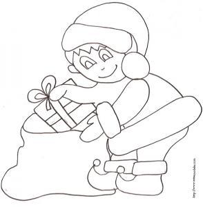 Coloriage du lutin et du sac à cadeaux dessin 9