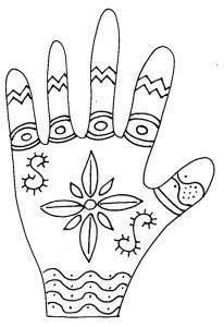 Imprimer le coloriage de la main graphique fleur
