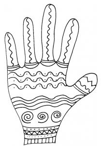 Imprimer le coloriage de la main vagues