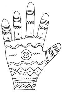 Imprimer le coloriage graphique de la main vagues