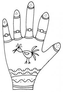 Imprimer le coloriage graphique de la main oiseau