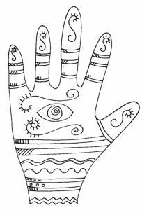 Imprimer le coloriage graphique de la main oeil