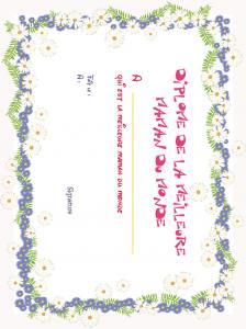 Diplôme de la meilleure maman, cadre marguerite et fleurs bleues