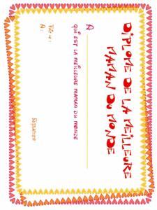 Imprimer le diplôme de la meilleure maman, motif coeurs